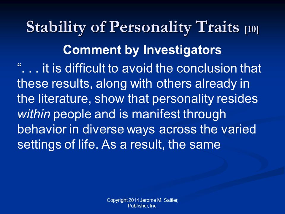 Stability of Personality Traits [10]